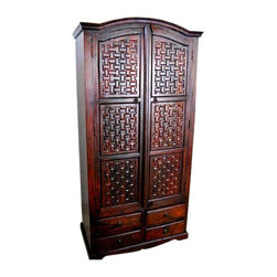 Hand Crafted Wood 4 Storage Drawers Armoire Wardrobe - Grand Solid Indian Rosewood Armoire with a large Cabinet and four storage drawers.