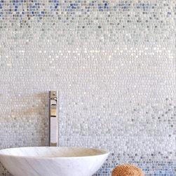 Mist Stone Mosaic - Mist, a hand chopped tumbled natural stone mosaic, is shown in 1.5 cm  Blue Macauba, Kay's Green, Ming Green, Celeste, Lettuce Ming, Calacatta Tia.