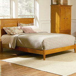 """Monterey Open Footrail 2 PC Caramel Latte Bedroom Set (Bed and Nightstand) - The Monterey Open Footrail 2 PC Caramel Latte Bedroom Set (Bed and Nightstand) features an eco-friendly hardwood from rubber trees that have run out of sap makes this bed part of the """"green"""" revolution. Twin, Full, Queen, and King sizes make it perfect for all sizes of people. Comfort and adaptability allow the Monterey set the opportunity to fit any bedroom with an added footboard or a flat-panel drawer. It's easy to assemble. A hook-and-rail system makes disassembly a breeze, and it makes the addition of a storage under the bed or a footboard easy."""