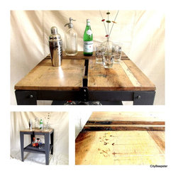 Urban Industrial Kitchen Island - This vintage square industrial work table makes an uber cool bar or serving island for any urban loft or space looking for an industrial element. This piece was originally an industrial paper cutter in a public school art room, was made by Premier, and had a heavy industrial cutting blade and handle mounted to the wood top. (see listing https://www.etsy.com/listing/169128359/cut-it-out-vintage-industrial-art to get a better idea)