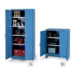 PARENT METAL XHD Series Galvanized-Shelf Heavy-Industrial Grade Cabinets, Blue - This industrial storage has both color and doors! These would be perfect to store all of my art and crafting stuff.