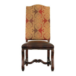 "Stanley Furniture - Costa Del Sol-Perdonato Side Chair - Literally the ""forgiveness chair,"" our Perdonato Side Chair is designed to welcome and serve the needs of all guests with honor, nobility and grace. The strong tooth of the intricate tapestry upholstery adds texture and dimension. And the ornate, hand-tipped hickory legs give just enough history to feel elegant without being overdone. The double-padded Super Comfort  seat is upholstered in pure, aniline-dyed leather, then ringed with individually set, variably size nail heads for a Old World feel."