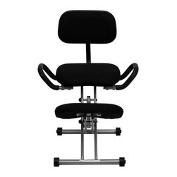 Flash Furniture - Ergonomic Kneeling Chair with Handles in Black - Ergonomic Kneeling Chair with Handles in Black