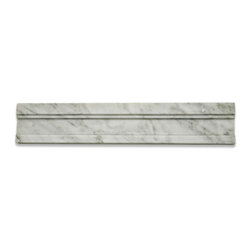 Novel White Carrera Chair Rail Marble Tile Liner - Novel White Carrera Chair Rail Marble Tile Liner Natural Variation from Piece to Piece Size: 2x12 Color: White Carrera Material: Stone Finish: Polished Sold by the Piece Thickness: 13mm x 19mm