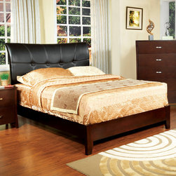 Hokku Designs - Delana Panel Bed - Like a family heirloom, our Brookville Bedroom Collection has a character and style that's all its own. Its solid wood frame has a high arch leatherette headboard and curvy edges. Slim, graceful and gently curved headboard is ideal for reading in bed. Features: -Delana collection. -Medium wood brown cherry finish. -Material: Leatherette, solid wood and wood Veneer. -Comes with upholstered swept-back profile. -Slim, graceful and gently curved headboard. -Arching headboard, tapered legs and low footboard create a sleek, modern silhouette.. -Tufted with extra padded headboard. -Comes with frame and panel for structural integrity. -Transitional and contemporary style.
