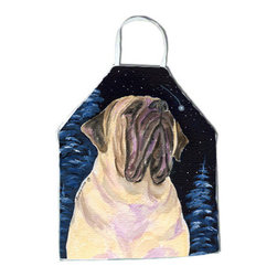 Caroline's Treasures - Starry Night Mastiff Apron SS8448APRON - Apron, Bib Style, 27 in H x 31 in W; 100 percent  Ultra Spun Poly, White, braided nylon tie straps, sewn cloth neckband. These bib style aprons are not just for cooking - they are also great for cleaning, gardening, art projects, and other activities, too!