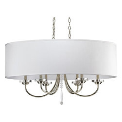 Thomasville Lighting - Thomasville Lighting Nisse Contemporary Oval Chandelier X-401-1344P - Traditional in features yet displays a modern flair: this chandelier transforms a space with charming appeal and elegant glow. The Thomasville Lighting Nisse contemporary oval chandelier features an off-white silken fabric oval shade that provides additional elegance and intimate appeal. The polished nickel finish provides sophistication and a formal look to the contemporary chandelier.