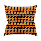 """Kess InHouse - Jane Smith """"Vintage Mushroom"""" Orange Black Throw Pillow (18"""" x 18"""") - Rest among the art you love. Transform your hang out room into a hip gallery, that's also comfortable. With this pillow you can create an environment that reflects your unique style. It's amazing what a throw pillow can do to complete a room. (Kess InHouse is not responsible for pillow fighting that may occur as the result of creative stimulation)."""