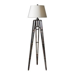 Carolyn Kinder - Carolyn Kinder Tustin Transitional Tripod Floor Lamp X-06482 - The tripod base has an oxidized bronze finish with gold undertones. The round hardback shade is an off-white linen hardback.