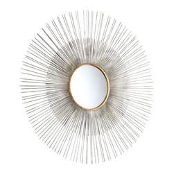 "Cyan Design - Contemporary Large Pixley 36"" Round Antique Silver Wall Mirror - Easily add elegance to a dining room living room bathroom bedroom or hallway with the Pixley wall mirror. The sunburst design features an antique silver leaf finish with vibrant gold finish gilded accents. Alternating short and long rays are hypnotizing and provide even more visual interest to this already stunning accent mirror. Iron construction. Antique silver leaf finish. Gold finish gilded accents. 36"" round. Mirror glass only is 9 1/2"" round 1/2"" deep.  Iron construction.   Antique silver leaf finish.   Gold finish gilded accents.   36"" round.   Mirror glass only is 9 1/2"" round 1/2"" deep."
