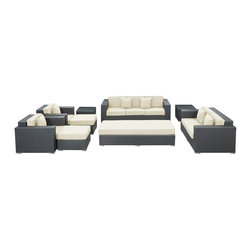 Modway Furniture - Modway Eclipse 9 Piece Sofa Set in Espresso White - 9 Piece Sofa Set in Espresso White belongs to Eclipse Collection by Modway Achieve cosmic aptitude with this empirically abundant outdoor living set. Discover more than the eye can see with Eclipse's radiant white all-weather cushions and espresso rattan base. Leave an impression on your surrounding and contemplate the incredible as you triumph on the pathway to new perspectives. Set Includes: One - Eclipse Outdoor Wicker Patio Coffee Table One - Eclipse Outdoor Wicker Patio Coffee Table Cushion One - Eclipse Outdoor Wicker Patio Loveseat One - Eclipse Outdoor Wicker Patio Sofa Two - Eclipse Outdoor Wicker Patio Armchairs Two - Eclipse Outdoor Wicker Patio Ottomans Two - Eclipse Outdoor Wicker Patio Side Tables Coffee Table (1), Loveseat (1), Sofa (1), Armchair (2), Ottoman (2), Side Table (2)