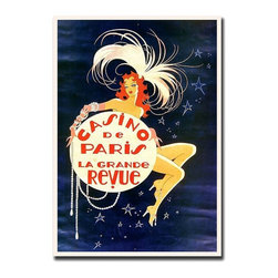 Trademark Global - Casino de Paris Giclee Framed Canvas Art Prin - The glitz and glamour of Paris nightlife is captured in this spectacular vintage style canvas wall art.  Beautifully reproduced by the unique Giclee printing method, it features a voluptuous French cabaret showgirl dripping in luxurious pearls.  Perched atop a glowing full moon in full headdress, she floats among the dazzling night stars.  Show off your fun side with this sensational and affordable work of art. Gallery wrapped Giclee on canvas. Ready to hang. Traditional style. Subject: Vintage. Format: Vertical. Size: Large. Canvas material. 24 in. W x 32 in. H (5 lbs.)Giclee is an advanced printmaking process for creating high quality fine art reproductions. The attainable excellence that Giclee printmaking affords makes the reproduction virtually indistinguishable from the original artwork. The result is wide acceptance of Giclees by galleries, museums and private collectors.