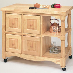 Sunset Trading - 4-Drawer Eco-Friendly Kitchen Cart - Two large open shelves. Butcher block style. Deep pass-through drawers that open from either side. Base in antique black. Top and knobs in cherry. Warranty: One year. Made from eco-friendly Malaysian oak. Light oak finish. No assembly required. 44 in. W x 24 in. D x 36 in. H (145 lbs.)This beautifully designed furniture supplied by Sunset Trading  will assure you many years of use and enjoyment. Identical finishing on either side of the cart for optimum placement in your home. Add a touch of country comfort to your kitchen with this versatile and generously appointed kitchen cart from the Sunset Trading - Sunset Selections Collection. Perfect for preparing family meals or serving drinks and appetizers when entertaining guests. Family and friends will be sure to gather around this cozy and inviting kitchen centerpiece. Big on style, workspace and storage this versatile design is certain to be welcome focal point in the hearth of your home for years to come!