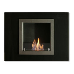 """Ignis Villa Mini 32"""" x 24"""" Recessed Ventless Ethanol Fireplace WMF-020 - Elegant, Classy and stylish, this ethanol fireplace has it all, what really stands out is its black glass outer frame and stainless steel inner frame. 1.5 liter ethanol burner sits within a beautiful black powder coated background.This ethanol fireplace is now available with optional safety glass."""