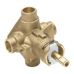 Moen - Moen 2520 Rough In Posi-Temp Valve - Moen 2520 Rough In Posi-Temp Valve connects to your tub/shower handle diverter. The Rough In valve features a PosiTemp control valve which has a balancing control to help keep water temperatue at its desired degree. The valve has two copper connection inlets and outlets. The inlets bring the water to the diverter while the outlets then transport that water to either the tub spout or shower head.