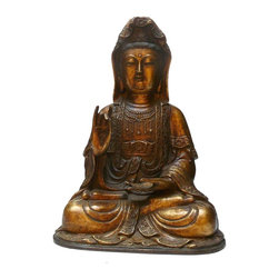 "Golden Lotus - Chinese Handmade Metal Golden Color Kwan Yin Statue - Dimensions: w12"" x d9""x h17"""