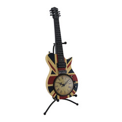 Zeckos - British Flag Union Jack Acoustic Guitar Clock with Display Stand - You can almost hear the sweet sound of time strumming away with this stylized Union Jack electric guitar sculptural clock Made from cast resin with a glossy expertly hand-painted finish, this awesome 16 inch high, 7 inch long, 6 inch wide (41 X 18 X 15 cm) acoustic guitar clock includes a 'guitar stand' style display stand, requires just 1 AA battery (not included), and it adds a fun decorative accent to shelves, desks, dressers and tables while you rock out in time This fun British Flag electric guitar clock makes a great gift for guitar players or the rock star in your life sure to be admired.