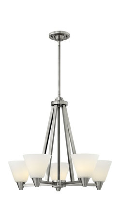 Hinkley Lighting - Hinkley Lighting 3665BN Dillon Transitional Chandelier - Dillons contemporary  stem hung design features a floating cast double ring intersection as the centerpiece. The absence of a center tube contributes an airy grace to its robust tube construction.