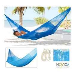 Novica - Glowing Sapphire Large Deluxe Hammock with Accessories (Mexico) - Glowing double hammock is the ideal place to rest on a lazy afternoonHand-woven patio furniture boasts extra large ropes and hammock 'S' hooks Garden and patio hammock weaves glistening sapphire threads into a welcoming resting area