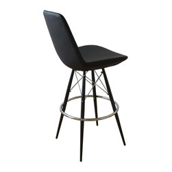 "sohoConcept - Eiffel Mw Stool (23.5 in. Black Leatherette) - Fabric: 23.5 in. Black LeatheretteA unique stool with a comfortable upholstered seat. Backrest on a powder coated steel frame. Each leg is tipped with a plastic glide inserted to the foot. Chromed steel tubular footrests, it becomes an ideal solution for kitchen and bar counters. Footrests are fixed outside the four leg frame. Seat has a steel structure with ""S"" shape springs for extra flexibility and strength. Steel frame molded by injecting polyurethane foam. Seat is upholstered with a removable velcro enclosed leather, PPM or wool fabric slip cover. Suitable for both residential and commercial use and can be ordered as counter or bar stool and upholsteries. Pictured in Black Leatherette. Counter Stool: 23 in. D x 19.5 in. W x 38 in. H, Seat Height: 23.5 in.. Bar Stool: 23 in. D x 19.5 in. W x 44 in. H, Seat Height: 29.5 in."