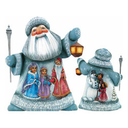 "Artistic Wood Carved Santa Claus Childhood Friends Sculpture - Measures 7""H x 4.25""L x 4""W and weighs 1.5 lbs. G. DeBrekht fine art traditional, vintage style sculpted figures are delightful and imaginative. Each figurine is artistically hand painted with detailed scenes including classic Christmas art, winter wonderlands and the true meaning of Christmas, nativity art. In the spirit of giving G. DeBrekht holiday decor makes beautiful collectible Christmas and holiday gifts to share with loved ones. Every G. DeBrekht holiday decoration is an original work of art sure to be cherished as a family tradition and treasured by future generations. Some items may have slight variations of the decoration on the decor due to the hand painted nature of the product. Decorating your home for Christmas is a special time for families. With G. DeBrekht holiday home decor and decorations you can choose your style and create a true holiday gallery of art for your family to enjoy. All Masterpiece and Signature Masterpiece woodcarvings are individually hand numbered. The old world classic art details on the freehand painted sculptures include animals, nature, winter scenes, Santa Claus, nativity and more inspired by an old Russian art technique using painting mediums of watercolor, acrylic and oil combinations in the G. Debrekht unique painting style. Linden wood, which is light in color is used to carve these masterpieces. The wood varies slightly in color."
