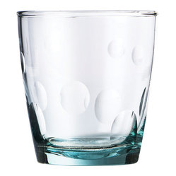 Be Home - Recycled Glass With Dots Tumbler, Set Of 6 - You'll flip for these tumblers. The set of six 8-ounce glasses is perfect for everything from juice to Old Fashioneds to the soda that inspired them. They're made from 100 percent recycled bottles through a fair trade program in Bolivia — so you can feel good about drinking responsibly.
