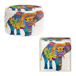 DiaNoche Designs - Ottoman Foot Stool - Whimsical Elephant I - Lightweight, artistic, bean bag style Ottomans. You now have a unique place to rest your legs or tush after a long day, on this firm, artistic furtniture!  Artist print on all sides. Dye Sublimation printing adheres the ink to the material for long life and durability.  Machine Washable on cold.  Product may vary slightly from image.