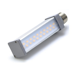 High Power 20 LED Rotatable E27 LED Bulb - E27-xW20-AIM series rotatable LED tube replacement bulb for traditional tubular medium screw base lamps. Light output comparable to 45~50 Watt incandescent bulbs. Consumes 10.5 Watts of power using 20 high power 5730 SMD LEDs. Available in Cool White or Warm White with 120° beam angle.