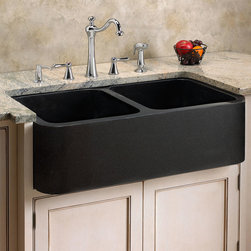 Polished Granite Double-Bowl Farmhouse Sink - A super-smooth front on this Granite Farmhouse Sink makes it a striking addition to a gourmet kitchen. With its deep well, this polished stone sink offers plentiful space for tackling large cooking pots and accomplishing other chores, both with ease and exceptional style.