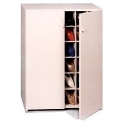Shoe Cubby, Women's 40 Pair with Doors, White - Shoe storage can be tricky. I really like this shoe cabinet because it keeps the shoes both organized and out of sight.