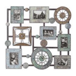 The Uttermost Company - Petina Photo Collage and Wall Clock - Made of hand forged metal, this combination features finishes of antiqued blue/green, aged chestnut, antiqued ivory and rustic bronze with silver undertones.  Holds 4-4x6 and 2-5x7 photos.