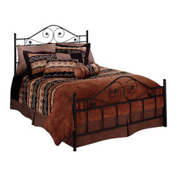 Hillsdale - Hillsdale Harrison Metal Bed in Textured Black Finish-Full - Hillsdale - Beds - 1403BFR - The understated Harrison bed versatile and elegant features a dark textured black finish a high profile headboard and delicate scrollwork that runs gracefully through the silhouette.