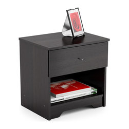 Sonax - N-105-LPB Ravenwood Black Plateau Nightstand - Add the perfect finishing touch to any bedroom with this contemporary black nightstand. This nightstand features a dark and sophisticated black ravenwood finish and features a drawer to hold bedside reading material and other necessities.