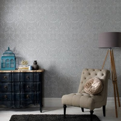 """Graham & Brown Province Wallpaper - Exquisite and unique damask enriched with lustrous textures grey with silver glitter highlights this will be eye catching and beautiful in any room in your home. About Graham & Brown Founded in 1946 by friends Harold Graham and Henry Brown Graham & Brown has always been about brightening the home. From modest beginnings with surplus metallic paper and an embossing machine Graham & Brown has grown to include a range of products such as Superfresco - easy to hang and able to be painted or washed - and other """"""""paste the wall"""""""" products that allow homeowners greater ease in hanging wallpaper themselves. The company's product line today includes wall art paint and children's decor in addition to its famous wallpaper."""