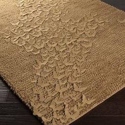 Surya - Surya Butterfly BFY-6804 5' x 8' Taupe Rug - The shag rugs in the Butterfly collection are quirky and elegant at the same time. The subtle butterfly medallions in the pile add a sense of motion to any room. This rug is hand woven from 100% wool. This rug looks beautiful and with its robust construction, it is sure to look beautiful for a very long time.