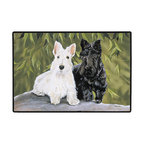 280-Scotties Doormat - 100% Polyester face, permanently dye printed & fade resistant, nonskid rubber backing, durable polypropylene web trim on the porch or near your back entrance to the house with indoor and outdoor compatible rugs that stand up to heavy use and weather effects