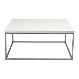 Eurostyle - Teresa Square Coffee Table-White/Stainless - Love your large living room, but don't know how to fill the space? Start with this refined, square coffee table. The clean cut design fills the space beautifully without distracting from your other furniture pieces.