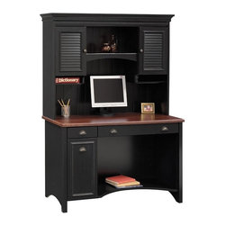 Bush - Bush Stanford Wood Computer Desk with Hutch in Black - Bush - Computer Desks - WC5391PKG - Turn your office into a classy castle with the stately Bush Stanford Desk Hutch, which fits easily atop the Bush Stanford Black Computer Desk. This mid to upper end hutch features a rich antique black and hansen cherry finish, subtle dentil and crown moldings, antique-style hardware and other beautiful details.
