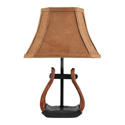 Lamps Plus - Stirrup With Faux Suede Shade Mini Western Accent Lamp - Custom finishes decorate the outside of the stirrup accent on this miniature, Western-inspired table lamp. With a charming stirrup accent, this miniature table lamp is the perfect choice for the Western design enthusiast. A faux suede shade, up top, comes in a warm brown hue to complement the custom finish base. Takes one 25 watt candelabra bulb (not included).