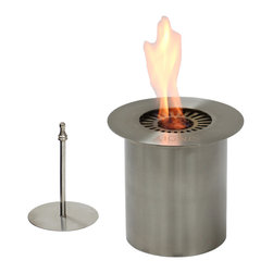 "Ignis - EB150 Ethanol Fireplace Burner - Create your own unique fireplace with the addition of this Ethanol Fireplace Burner Insert. This round insert is sized just right for smaller applications, and it holds up to 1.5 liters of ethanol, so it can provide warm heat for up to six hours in between refills with an approximate output of around 5,000 BTUs. This double-layered ethanol fireplace burner burns cleanly and is an eco-friendly choice when compared to your wood-burning unit. It can be used directly inside a wood-burning fireplace, although it doesn't require a chimney to be used. As a bonus, it comes with a damper tool. Dimensions:  6"" x 6"" x 6.25"". Features: Ventless - no chimney, no gas or electric lines required. Easy or no maintenance required. Capacity: 1.5 Liters. Approximate burn time - 6 hours per refill. Approximate BTU output: ~ 5000. Double Layer."