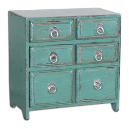 Kadri Accent Chest - Distressed Teal Green With Natural Wood Undertones And Polished Silver Drawer Pulls.