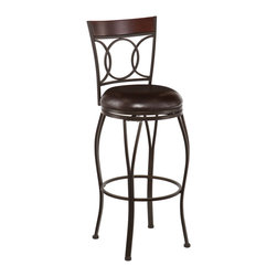 SEI - Granada Swivel Bar Stool - Add classic style and contemporary convenience to your home. The cast circles and curved legs of this bar stool create a sleek and sophisticated look. A powder-coated, dark champagne finish and durable steel frame deliver lasting quality. It features bar height seating, a cozy foam seat covered in rich dark brown vinyl, and a backrest accent in a rich walnut finish bentwood.