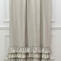 Sophia Shower Curtain - The Sofia Shower Curtain is a gorgeous over sized shower curtain made from the highest quality linen featuring layers of natural linen ruffles. Available in multiple colors and made in USA. Elegant. Refined. Beautiful.