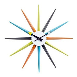 Sunburst Clock - 22 diam.in. - Bring a burst of sunshine into your home with the Sunburst Clock - 22 diam. in.. A precise replica of the 1950s classic, this George Nelson design features colorful rays emanating from a sphere of crisp white.