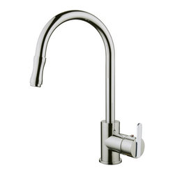 YOSEMITE HOME DECOR - Single Handle Kitchen Faucet with Pull-out Sprayer and Base Plate - Washerless Cartridge Single Handle Kitchen Faucet with Pull out Sprayer and Base Plate No pop up drain included Brushed Nickel