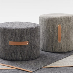 """Design House Stockholm - Design House Stockholm Björk Stools - """"The birch, a tree that can be found all over Sweden, is my inspiration for the Björk collection. The expression in the woven structure comes from the black and white trunk of the birch and the leather represents the inside of the bark. The stool is a natural part of the Björk collection, just like the stumps in a birch forest. They are a piece of furniture that is light and soft in its expression."""" The colour tones of Björk create a marbled effect through a warp of cotton intertwined with a weft in wool, known not only for its softness, but also for its built-in resistance to soiling thanks to its natural oils."""