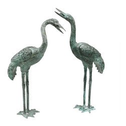 "EttansPalace - 20"" Classic Authentic Bronze Crane Bird Set - Set of 2 (Small) (Kitchen) - Symbolize peace. Cast in the traditional lost wax bronze method and piped for fountain use. Like those seen in traditional English gardens, these Asian symbols of peace are lifelike, lost wax bronze statues with a verdigris patina. In a medium perfect for showcasing their graceful legs and exquisite, elongated necks, they are elegant in an entryway, a field of irises or a pond, and are piped for optional fountain use. These unparalleled sculptures cause their light local Garden Shop aluminum cousins to pale in comparison. Choose from among three scaled sizes for your landscape or decor."