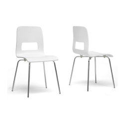 Baxton Studio - Baxton Studio Greta White Modern Dining Chair (Set of 2) - Our Greta Modern Dining Chair's straightforward design brings an understated beauty to any kitchen or dining area. A white plywood seat sits atop a sturdy chrome-plated steel base with black plastic non-marking feet. The Greta Chair is made in China, requires minor assembly, and should be wiped clean with a dry cloth. This design is not stackable. The Greta collection includes a dining chair and bar stool, each being offered in light wood and white finishes (each sold separately)