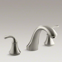 KOHLER - KOHLER Fort�(R) sculpted deck-mount bath faucet trim for high-flow valve, valve - With simple, traditional designs, Fort� faucets tastefully complement both classic and contemporary bathroom decor. Complete your bath with this stylish bath faucet trim featuring sculpted, ergonomic handles and a classical silhouette. When paired with hi