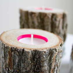 """Wood Tea Light Holder, Neon Pink by Bertu Candles - These tea lights instantly shot to the top of my Christmas list. I love the look of the carved logs — and neon pink accents! I'd term this style """"modern meets cabin cool."""""""